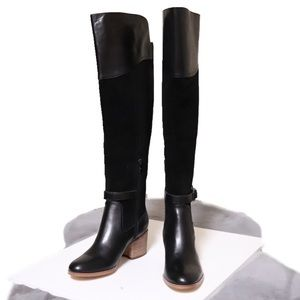 Marc Fisher Eisa Over The Knee Black Leather Boots